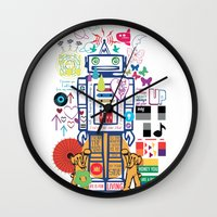 coldplay Wall Clocks featuring we live in a beautiful world by Giulia De grazi