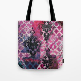Mixed Media - Black, Red & Pink Tote Bag