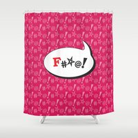 "mouth Shower Curtains featuring Potty Mouth  ""#*@!"" by Anderssen Creative Imaging"