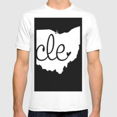 Love Cleveland MEDIUM White Mens Fitted Tee