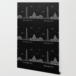 Washington D.C. Minimal Nightscape / Skyline Drawing Wallpaper