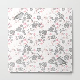 Silver and pink cherry blossom birds Metal Print