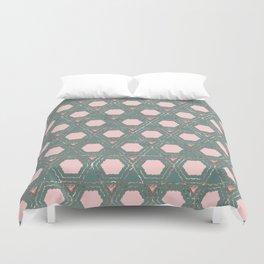 Modern Pink Teal Rose Gold Honeycomb Hexagon Duvet Cover