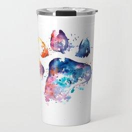 Dog Paw - Watercolor Painting - Pet Art Travel Mug