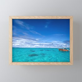 South Pacific Crystal Ocean Dreamscape with Boat Framed Mini Art Print