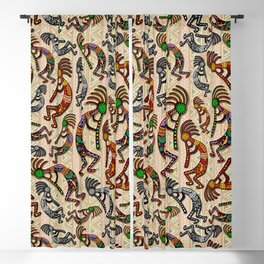 Kokopelli Rainbow Colors on Tribal Pattern  Blackout Curtain