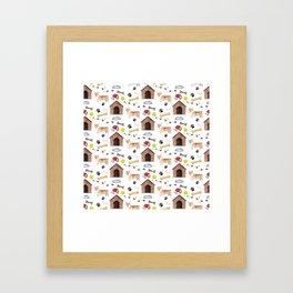 Corgi Half Drop Repeat Pattern Framed Art Print