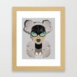 Mugshot 4:00 am Surreal Graffiti Girl Portrait with Glasses Framed Art Print