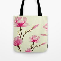 craftberrybush Tote Bags featuring Pink Magnolia  by craftberrybush