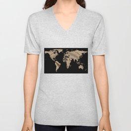World Map Silhouette - Compass Rose Unisex V-Neck