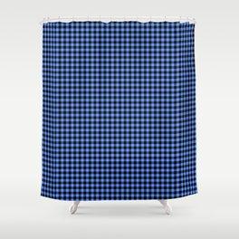 Mini Black and Sky Blue Cowboy Buffalo Check Shower Curtain