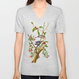 Downy Woodpecker John James Audubon Birds of America Scientific Illustration Unisex V-Neck