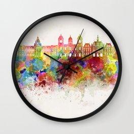 La Paz skyline in watercolor background Wall Clock