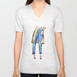 Blue jeans  Unisex V-Neck