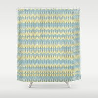 sweater Shower Curtains featuring Sweater knitting by Julia Brnv