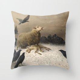 Anguish - August Friedrich Albrecht Schenck - Ravens and Sheep Throw Pillow