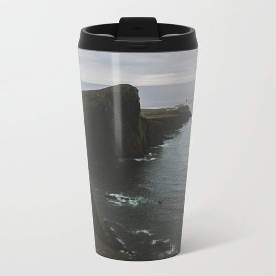 Neist Point Lighthouse at the Atlantic Ocean - Landscape Photography Metal Travel Mug