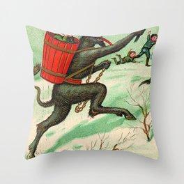 The Krampus stealing a child Throw Pillow