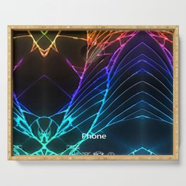 Rainbow Broken Damaged Cracked out Black handphone iPhone Serving Tray