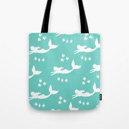 Mermaid Pattern Sea Green Tote Bag
