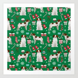 Brittany Spaniel christmas pattern dog breed presents stockings candy canes Art Print