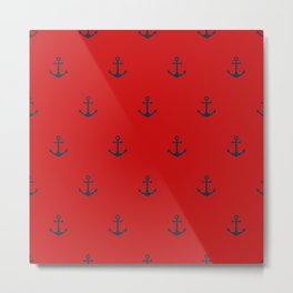 Navy Sailor Anchor Pattern Blue And Red Metal Print
