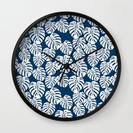 Monstera leaf tropical pattern minimal botanical design by andrea lauren Wall Clock