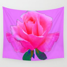 """""""PINK LOVERS"""" PINK ROSE ON  PINK COLOR Wall Tapestry"""