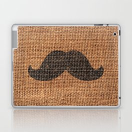Black Funny Mustache on Brown Jute Burlap Texture Laptop & iPad Skin