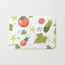 Seamless Pattern with Cute Cucumbers and Tomatoes. Scandinavian Style Bath Mat