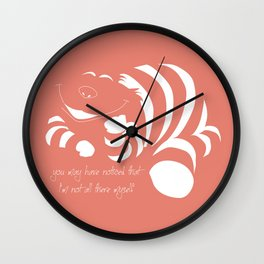 Coral Pantone 2019 and minimal drawing of the cheshire cat - Alice in wonderland quote Wall Clock