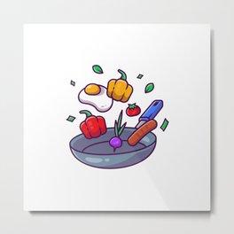 Cooking Frying Pan Cartoon Illustration Metal Print