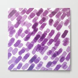 Purple Watercolor Brush Strokes Abdtraction Metal Print