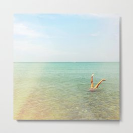 Turquoise Handstand Metal Print
