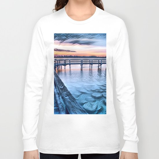 Dock on the River (Sunset) Long Sleeve T-shirt