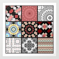Patchwork . Squares of black, gray and salmon . Art Print