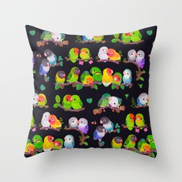 Lovebird - dark Throw Pillow