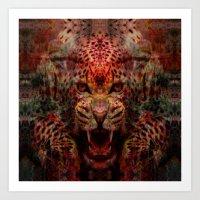 jaguar Art Prints featuring Jaguar by Zandonai