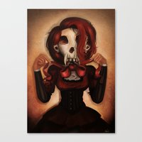 theatre Canvas Prints featuring Skull Theatre by Anna Lisa Wardle