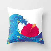 hokusai Throw Pillows featuring Hokusai Rainbow & Hibiscus_R  by FACTORIE