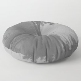 Black and White Foggy River Floor Pillow