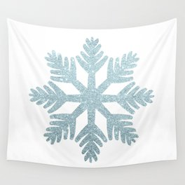 Blue Glitter Snowflake Wall Tapestry