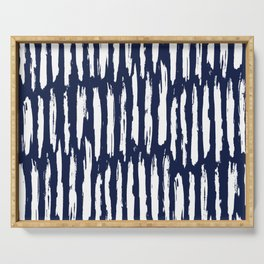 Vertical Dash White on Navy Blue Paint Stripes Serving Tray
