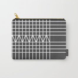Modern white gray geometrical plaid stripes Carry-All Pouch