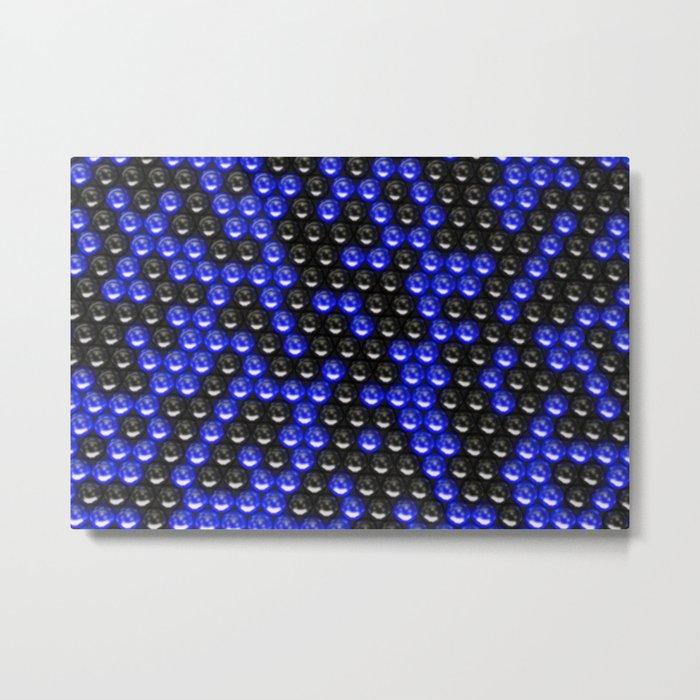 Pattern of black and blue spheres Metal Print