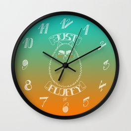 Just Fluffy (White Lineart/Teal-Orange Background) Wall Clock