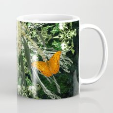 butterflies and wattle with green abstract bouquet Mug