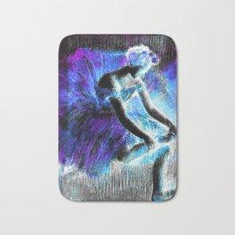 Black Ballerina  Violet Turquoise Blue Bath Mat