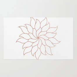Mandala Flowers Rose Gold on White Rug