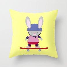 Bunny Skater Throw Pillow